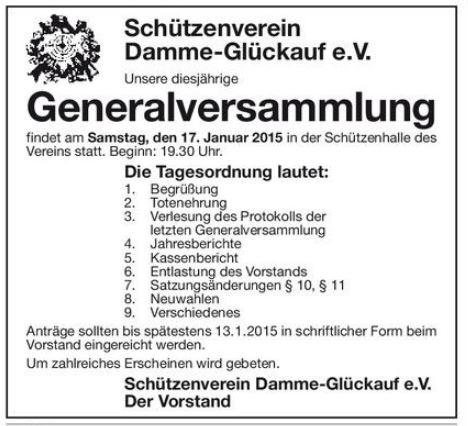 einladung zur generalversammlung mit neuwahlen | schützenverein, Einladung